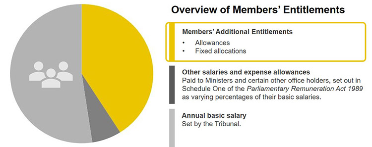 The following is a graphical overview of Members' Entitlements comprising Members' Additional Entitlements, Other salaries and expense allowances and Annual basic salary