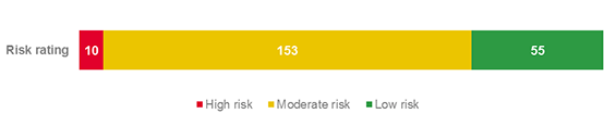 Risk rating bar graph showing 218 risk issues, including 10 high risk, 153 moderate and 55 low